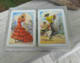 Heraclio Fournier Vitoria Double Deck Playing Card Set Made in Spain Flamenco Dancers