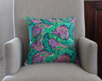 Gorgeous Cushion Cover in Amy Butler Glow in Jolie  with Green linen back. Cover made to fit a 50cm or 20 inch insert.