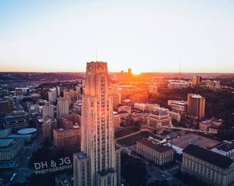 Cathedral of Learning Sunset (University of Pittsburgh, Pitt, Pittsburgh Photography)