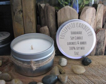 Oakmoss & Amber 8 oz. Soy Wax Candle Travel Tin Handmade