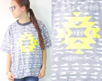 Retro Style Grey and Neon Funky Aztec Tribal Shirt Large/Medium