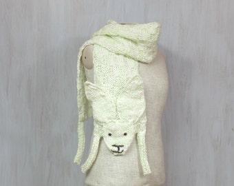 Wolle-Hase, weichen langen Wrap, Hase, Kaninchen, Tier Schal, original Schal, Winter-Accessoire für Tierfreunde, weiß hellgrün, Halswärmer