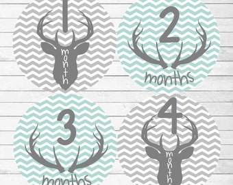 Monthly Baby Boy Deer Antler Stickers, Baby Month Stickers, Monthly Bodysuit Sticker, Monthly Stickers Chevron Blue Gray (Deer)