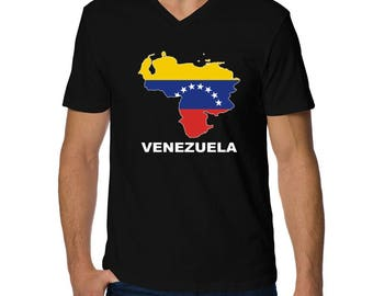 Venezuela Country Map Color V-Neck T-Shirt