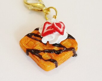 Handmade Waffle Charm - Polymer Clay Food Charm - Miniature Food Jewelry - Waffle Strawberry and Cream Charm