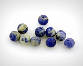 Sodalite (gemstone) of 8 mm beads, hole 1 mm (set of 2 or 5)