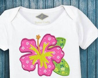Hibiscus Flower Tropical Hawaiian Summer Beach Machine Applique Design