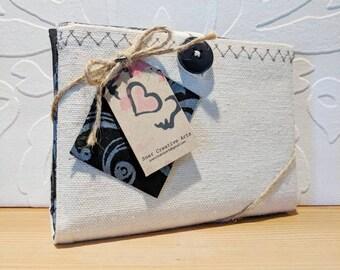 Folding cotton shopping tote bag with checklist notebook - metallic flourish