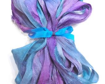 10YD. COTTON CANDY Sari Silk Bundle//Dyed Silk Sari Ribbon Bundle//Sari Tassels,Sari Wall Decor,Sari Fiber Jewelry,Sari Tapestry