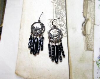 Rustic Chandelier Earrings -  Black Beaded Assemblage Earrings - Vintage Japan Glass & Tarnished Metal Connectors - Square Black Beads
