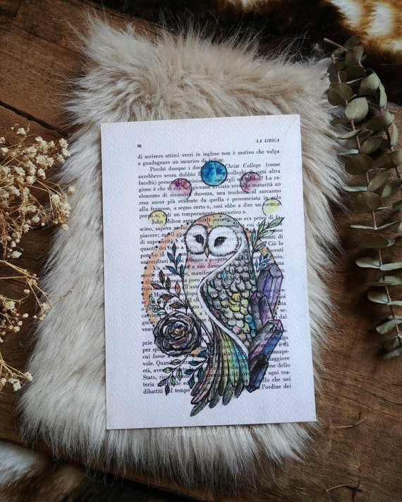 Original Rainbow Owl Print, painted on book page, gift idea, gift for her