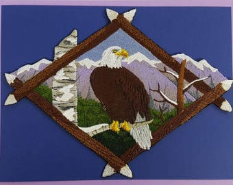 "Bald Eagle, Birds of Prey Embroidered Patch 7.7"" x 5.8"""