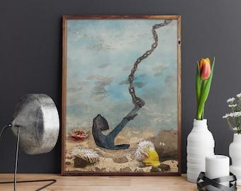 Anchor print, Ocean print, wall decor, PRINTABLE ART, Wall Art Decor, Anchor Art, Nautical Print, Sea Print, Beach Decor, Underwater Art