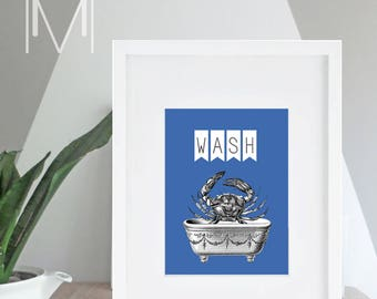 Printable Art - Crab Print - Instant Download Art - Bathroom Print - Wash Sign - Beach Cottage Bath - Nautical - Print at home - Modern
