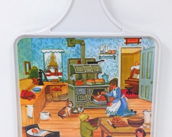 Vintage Brookpark Melmac Melamine Cutting Board Country Farm Kitchen Scene