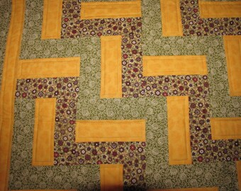 Yellow/Green Split Rail Fence lap/baby quilt