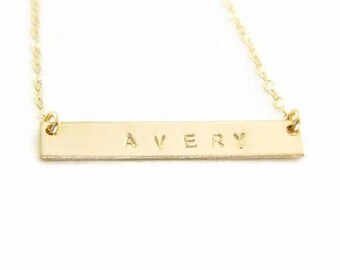 Bar Name Necklace, Bar Necklace, Custom Name Necklace, Name Plate Necklace, Monogram Necklace, Bridesmaid Gift, Wedding Party Gift