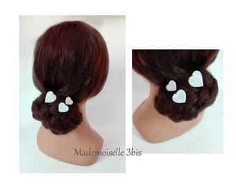 pins hair silver heart, baptism, quilted Hat women wedding, wedding hat, hair bun