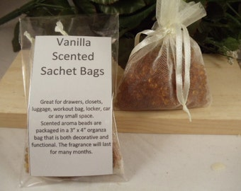 Vanilla Scented Sachet Bag - Smooth Inviting Scent -Great for Drawers, Closets, Luggage, Workout Bags- Hostess and Shower Gifts