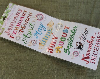 Months of the Year Stickers Embellishments Scrapbooking Cardmaking