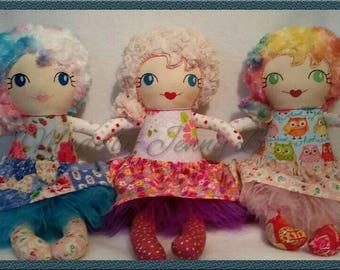 Handmade Doll. CE Tested. Designer Fabrics, Rag Doll, Dress up Dolls, Designer Fabrics, Girls birthday