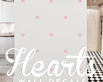 Hearts Wall Decal Pack, Modern Geometric Pattern Vinyl Wall Stickers WAL-2166