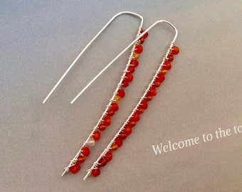 Minimalist Carnelian Earrings, sterling silver, silver earrings, leaf shaped earrings, hoop earrings, orange gemstone, natural gemstone
