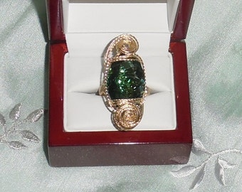 Natural 21ct Marquise Uruguay Green Amethyst gemstone, 14kt yellow gold Ring Size 7 1/2