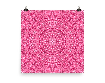 Large Pink Wall Art, Abstract Pink and White Mandala Art, Home Decor in Pink, Poster Prints