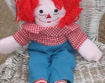 Raggedy Andy - Cloth Doll - Yarn Hair - Vintage - Original Clothes