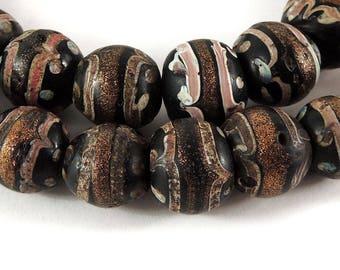 Fancy Venetian Trade Beads Black Aventurine African 118186