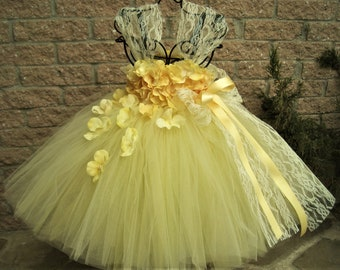 YELLOW LACE and FLOWERS, Pale Yellow Dress, Yellow Tutu Dress, Flower Girl Gown, Pageant Girl Dress, Empire Waist Dress, Baptism Gown