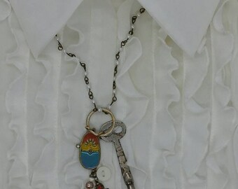 Vintage Skeleton Key One Of A Kind 30 inch Necklace with Unique Hand Painted Charm with two Floral Charms beaded with Pearls