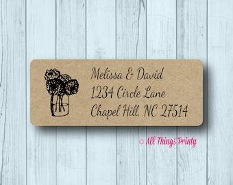 Vintage Flower Mason Jar Return Address Labels - Wedding, Engagement, or Save the Date Mailing Labels - Matte White, Kraft, or Clear Gloss