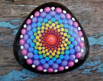 Rainbow Mandala Stone - Dot painted - Dotillism - 8cm x 8cm diameter  x 2cm depth