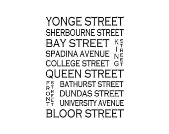 Toronto Ontario - Love This Place Street Name Art Print on Paper - Customize With Your Street - Home Decor - Canada TheJitterbugShop