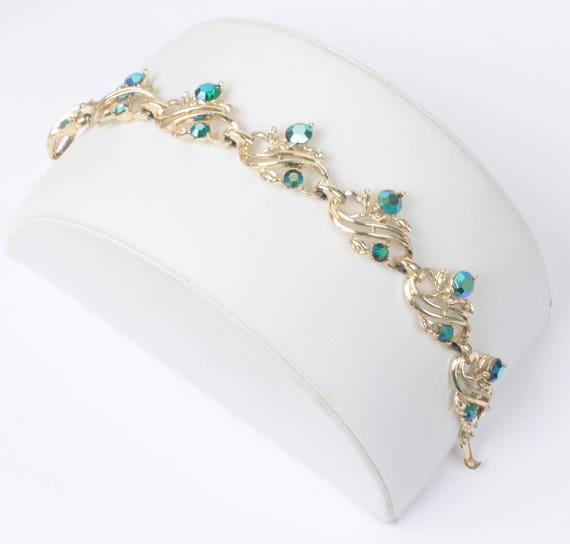 Vintage Green Aurora Borealis Rhinestone Bracelet Swirled Design Bracelet Gold Tone Metal