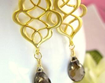 Smokey quartz gold Aladdin wave chandelier earrings, Moroccan brown quartz gold chandelier earrings, brown boho arabic bellydance earrings
