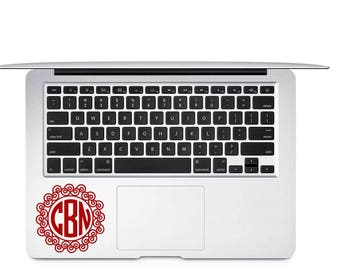 Circle Monogram Decal, Monogram Vinyl Decal, Vine Monogram Decal, Laptop Decal