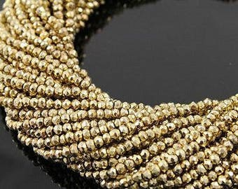 Gold Pyrite Beads Natural 5 to 13 Inch Strand Center Drilled 5mm Rondelle Semiprecious Faceted Gemstones Jewelry Craft Supply Free Shipping