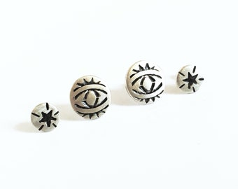 Set of Four Stud Earrings in sterling silver, stamped, all seeing eye, stars