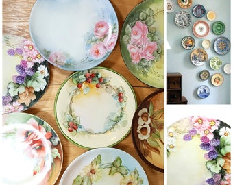 Vintage PLATE INSTANT COLLECTION 7 Beautiful Decorative Plates Hand Painted  Porcelain Floral Plate Wall Or Cabinet