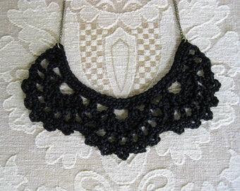 Crochet bib necklace, black necklace, statement jewelry, vintage lace jewelry, goth gift, crochet jewelry, crochet necklace, black jewelry