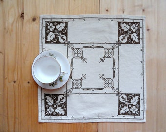 Swedish vintage embroidery white brown serving napkin Monochrome square doily Beige table topper Folk art textile centerpiece Cross stitched