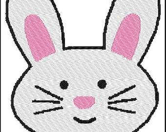 Bunny Face Embroidery Design