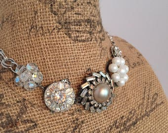 Vintage, Assemblage Necklace, Upcycled, Antique Repurposed, Steampunk, Boho