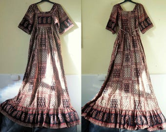 60s 70s Indian Cotton hand block floral/patch work print Dress Earthy Gypsy folkloric Festival Hippie Bohemian Maxi Dress