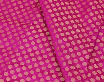 Golden Polka Design On Pink Brocade Silk Fabric-8307