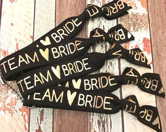 Set of 5 Bachelorette Bracelet Hair Tie Party Favor | Team Bride Hair Ties |  Goody Bag Survival Kit | To Have and To Hold Your Hair Back