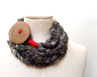 Loop Infinity Scarf Necklace, Crochet Scarflette Neckwarmer - Grey, Brown, Olive Green and Red with giant wood button